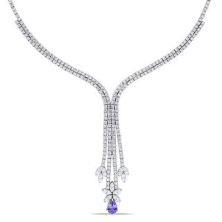 Miadora 14k White Gold 4 1/4ct TDW Diamond Tanzanite Necklace (SI1-SI2)