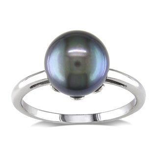 Miadora 14k White Gold Freshwater Black Pearl Ring (8.5-9 mm)