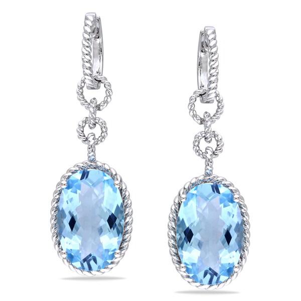 Miadora Sterling Silver Blue Topaz Danlge Earrings