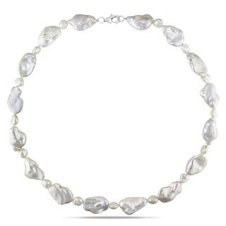 Miadora Sterling Silver White Biwa Style Cultured Freshwater Pearl Necklace (6-12 mm)