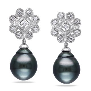 Miadora 10k White Gold Tahitian Pearl 1/5ct TDW Diamond Earrings (H-I, I2-I3)