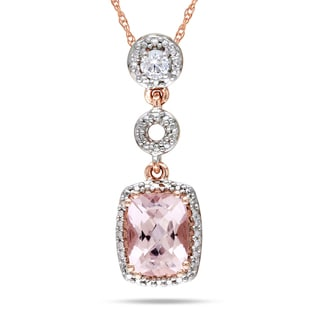 Miadora 10k Rose Gold Morganite and 1/10ct Diamond Necklace