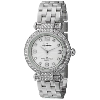 Peugeot Women's Silvertone T-bar Crystal Accent Watch