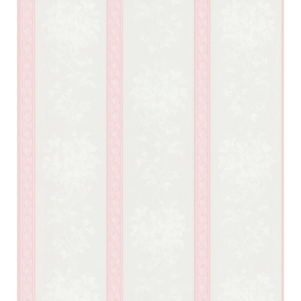 Brewster Pink Ornate Stripe Wallpaper