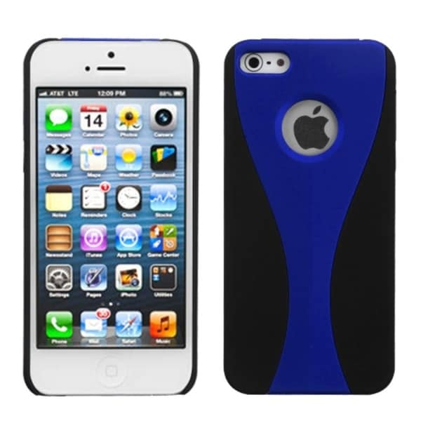 INSTEN Blue/ Black Wave Phone Back Protector Phone Case Cover for Apple iPhone 5