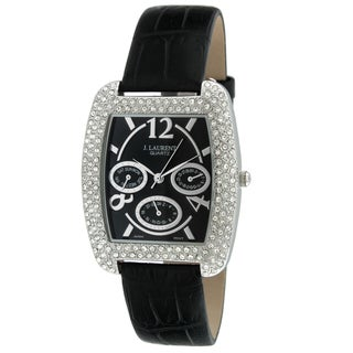 Jacques Laurent Men's Black Dial Crystal-Accented Watch