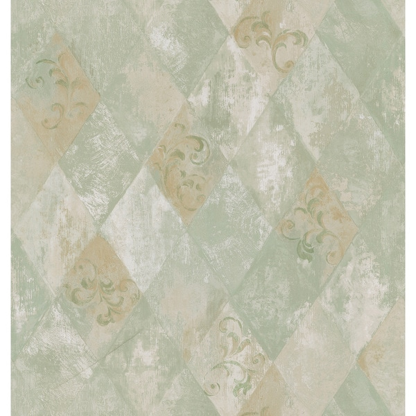 Brewster Sage Harlequin Scroll Wallpaper
