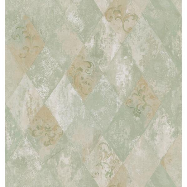 Brewster Sage Harlequin Scroll Wallpaper