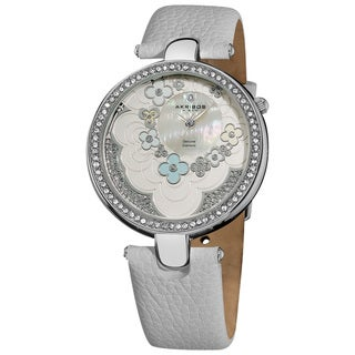 Akribos XXIV Women's Snake-Patterned Genuine Leather Strap Flower Dial Watch