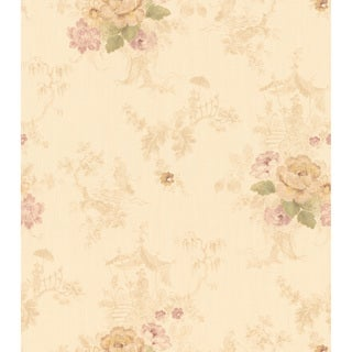 Brewster Beige Romantic Floral Wallpaper
