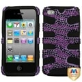 BasAcc Purple Zebra Diamante/ Fishbone Case for Apple iPhone 4/ 4S