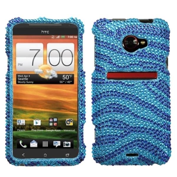 INSTEN Baby Blue/ Dark Blue Zebra Diamante Phone Case Cover for HTC Evo 4G LTE