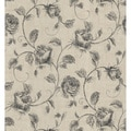 Brewster Grey Sketched Rose Trail Wallpaper