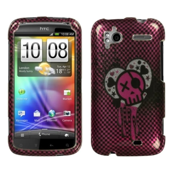 INSTEN I Heart Rock/ 2D Silver Sparkle Phone Case Cover for HTC Sensation 4G