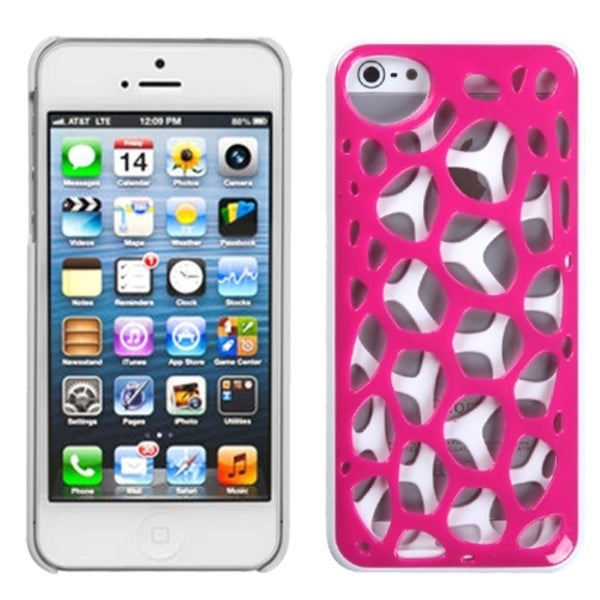 INSTEN Hot Pink/ White Synapse Phone Case Cover for Apple iPhone 5