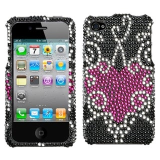 INSTEN Trapped Heart Diamante Phone Case Cover for Apple iPhone 4/ 4S