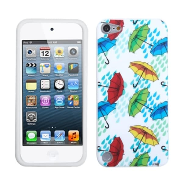 INSTEN Colorful Umbrella Hard Plastic Soft Silicone iPod Case Cover for Apple iPod Touch 5