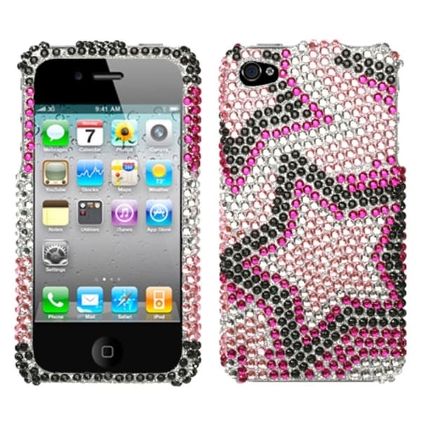 INSTEN Twin Stars Diamante Phone Case Cover for Apple iPhone 4/ 4S
