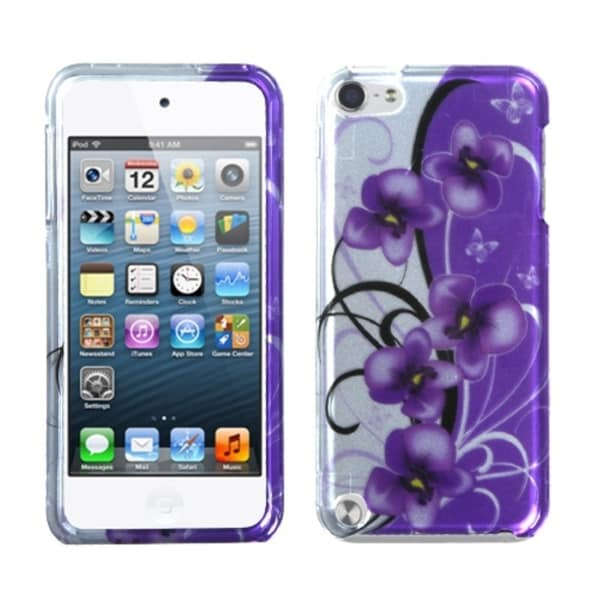 INSTEN Purple White Flower iPod Case Cover for Apple iPod Touch 5