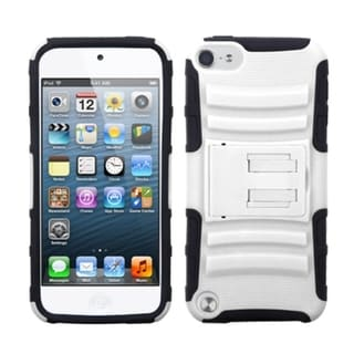 Insten White/ Black Advanced Armor Hard PC/ Silicone Dual Layer Hybrid Case Cover with Stand For Apple iPod Touch 5th/ 6th Gen