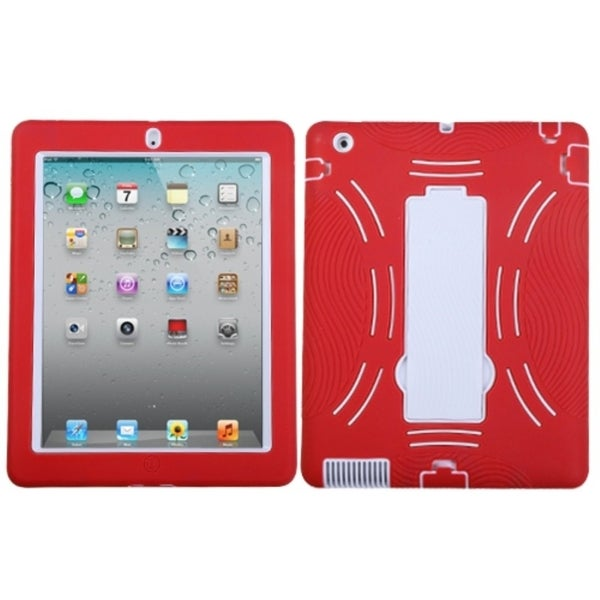 INSTEN White/ Red Symbiosis Tablet Case Cover with Stand for Apple iPad 1/ 2/ 4