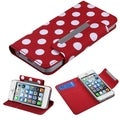 BasAcc White Dots/ Red Frosted MyJacket Wallet Case for Apple iPhone 5