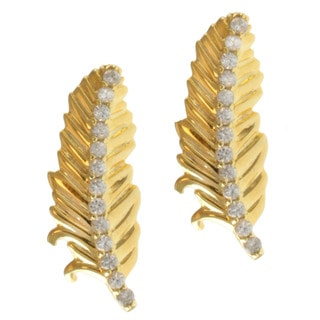 Michael Valitutti Gold over Silver White Zircon 'Feather' Earrings