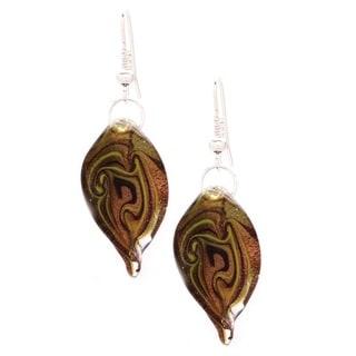 Murano Glass Black, Gold and Yellow Swirl Twist Earrings