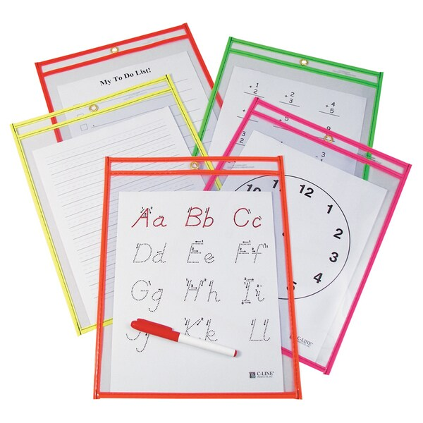 Reusable Dry Erase Assorted Neon Colors Pockets