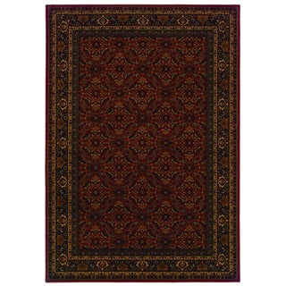 Traditional Red/ Black Area Rug (6'7 x 9'6)