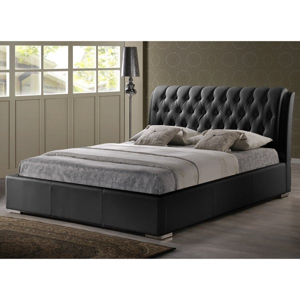 baxton studio bianca black full size bed with tufted headboard 15490298. Black Bedroom Furniture Sets. Home Design Ideas