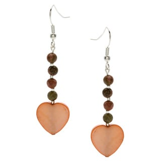 Peach Heart Dangle Earrings