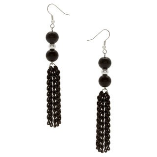 Silverplated Black Tassel Earring