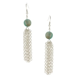 Silverplated Teal Tassel Earring