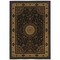 Traditional Oriental Pattern Black/ Ivory Area Rug (3'10 x 5'5)