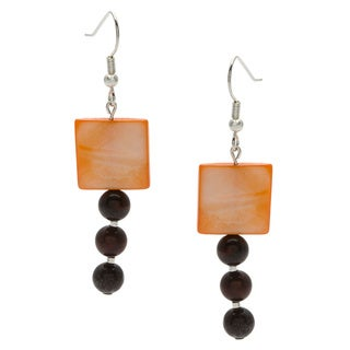 Silverplated Peach Cube Dangle Earrings