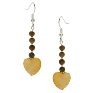 Silverplated Yellow Heart Dangle Earring
