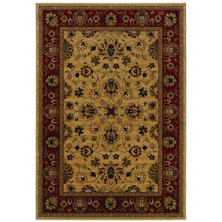 Ivory/ Red Traditional Polypropylene Area Rug (5'3 x 7'6)