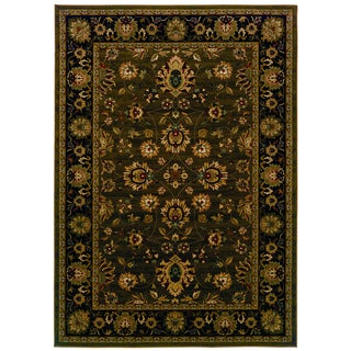 Traditional Brown/ Black Area Rug (5'3 x 7'6)
