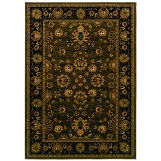 Traditional Brown/ Black Area Rug (9'10 x 12'10)