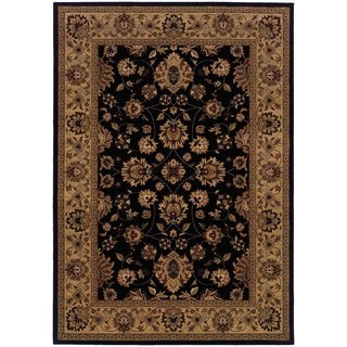 Traditional Black/ Ivory Polypropylene Area Rug (6'7 x 9'6)
