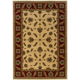 Traditional Ivory/ Red Area Rug (9'10 x 12'10)