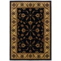 Traditional Black/ Ivory Polypropylene Area Rug (5'3 x 7'6)