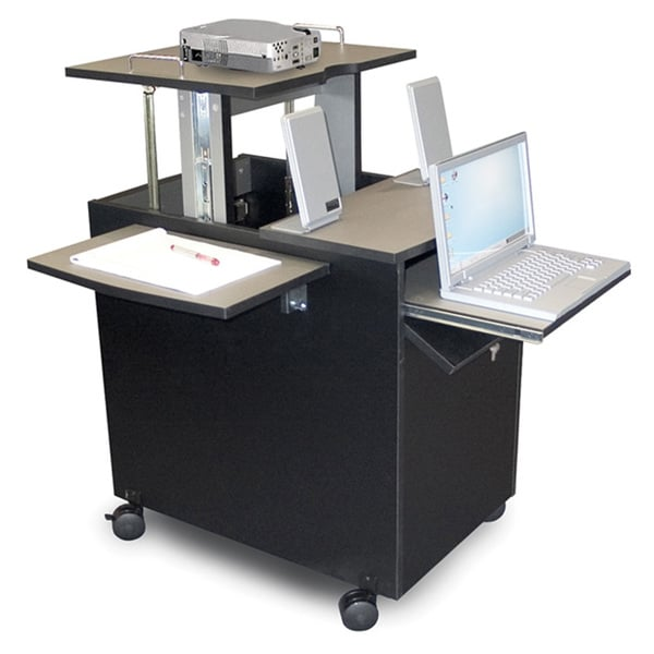 Offex Black Mobile Height Adjustable Presentation/ Workstation with Storage Shelf