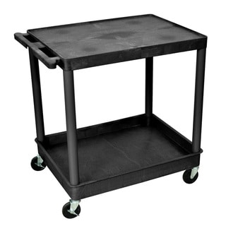 Offex Black Mobile Large Flat Top/ Tub 2 Shelf Plastic Storage Utility Cart with Push Handle/ 4 Casters