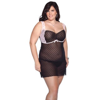 Kissable Women's Polka Dot Mesh Chemise
