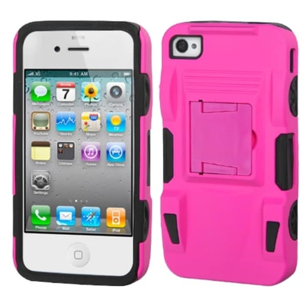 INSTEN Pink/ Black Advanced Armor Stand Phone Case Cover for Apple iPhone 4/ 4S