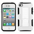 BasAcc White/ Black Car Armor Stand Case for Apple iPhone 4/ 4S