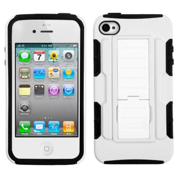 INSTEN White/ Black Car Armor Stand Phone Case Cover for Apple iPhone 4/ 4S