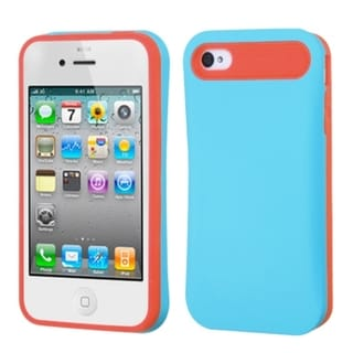 BasAcc Baby Blue/ Orange Card Wallet Back Case for Apple iPhone 4/ 4S